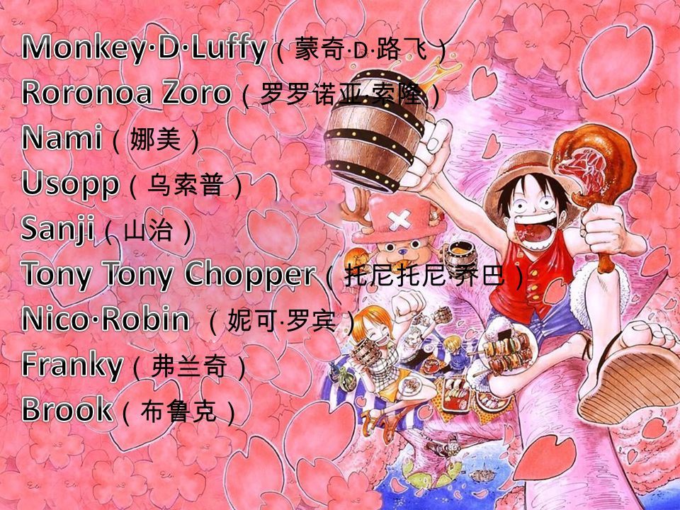 Monkey·D·Luffy ——the son of the Revolutionary Army's commander Monkey·D·Dragon ——the grandson of the famed Marine, Monkey·D·Grap ——the foster son of a mountain bandit, Curly Dadan ——the adopted brother of the late Fire Fist Portgas·D·Ace and Sabo.