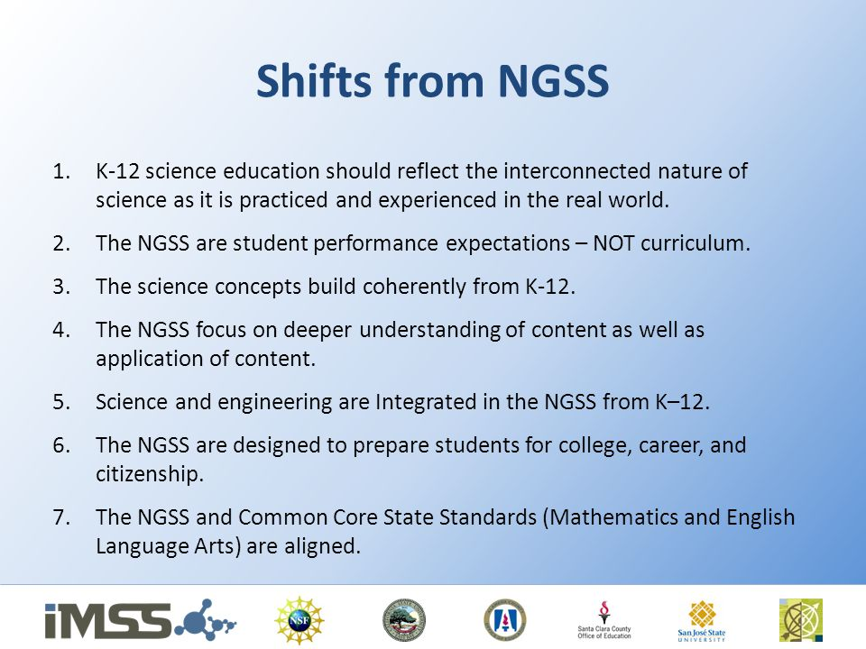 Shifts from NGSS 1.K-12 science education should reflect the interconnected nature of science as it is practiced and experienced in the real world.