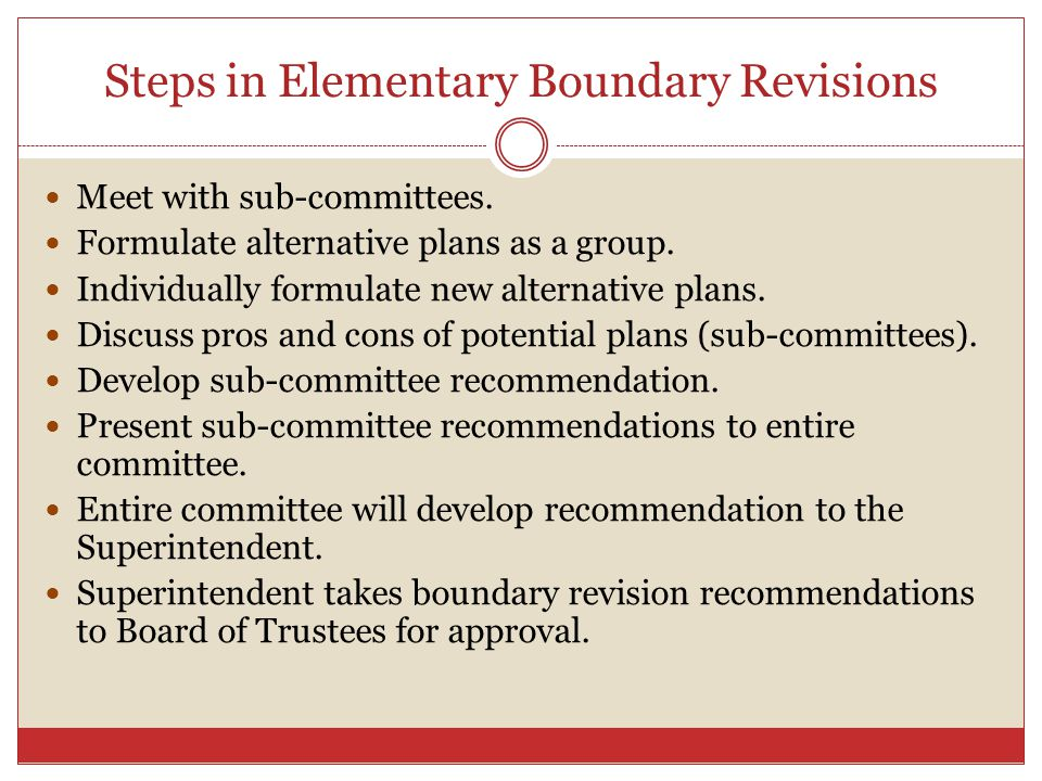 Steps in Elementary Boundary Revisions Meet with sub-committees.