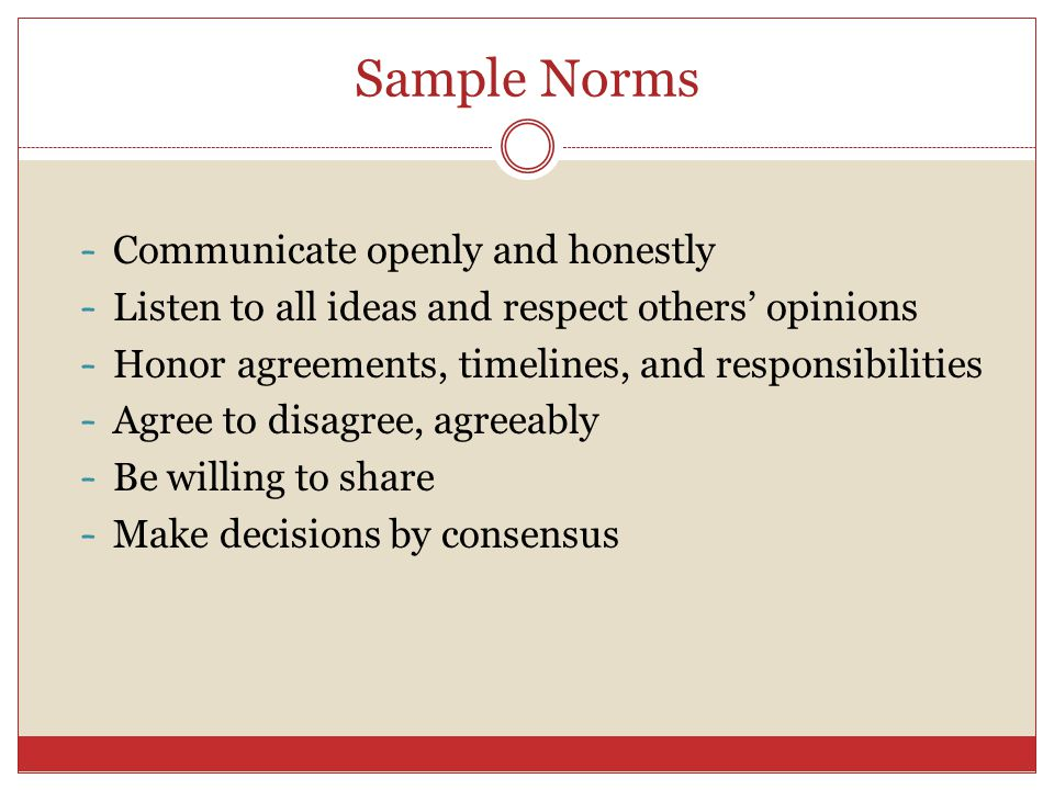 Sample Norms – Communicate openly and honestly – Listen to all ideas and respect others' opinions – Honor agreements, timelines, and responsibilities – Agree to disagree, agreeably – Be willing to share – Make decisions by consensus