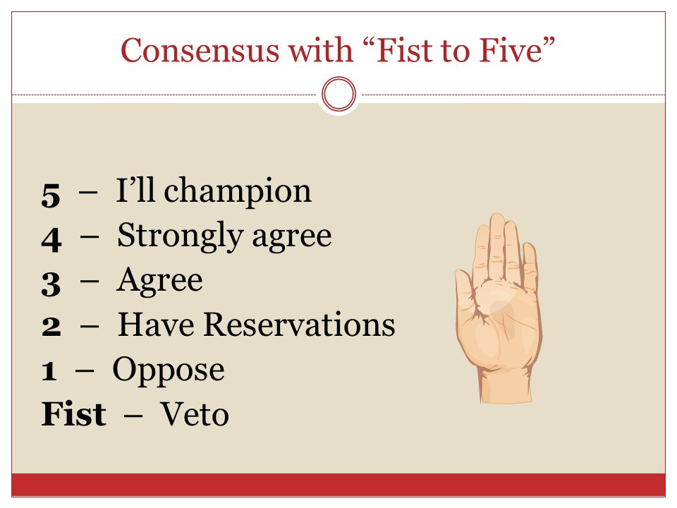 Consensus with Fist to Five 5 – I'll champion 4 – Strongly agree 3 – Agree 2 – Have Reservations 1 – Oppose Fist – Veto
