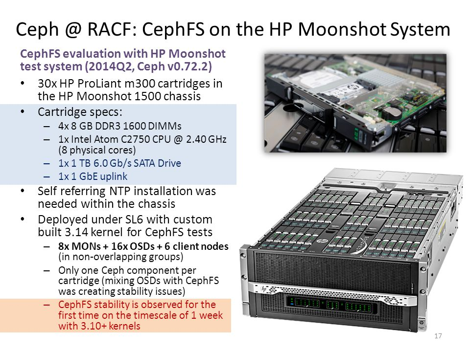 Ceph @ RACF: CephFS on the HP Moonshot System CephFS evaluation with HP Moonshot test system (2014Q2, Ceph v0.72.2) 30x HP ProLiant m300 cartridges in