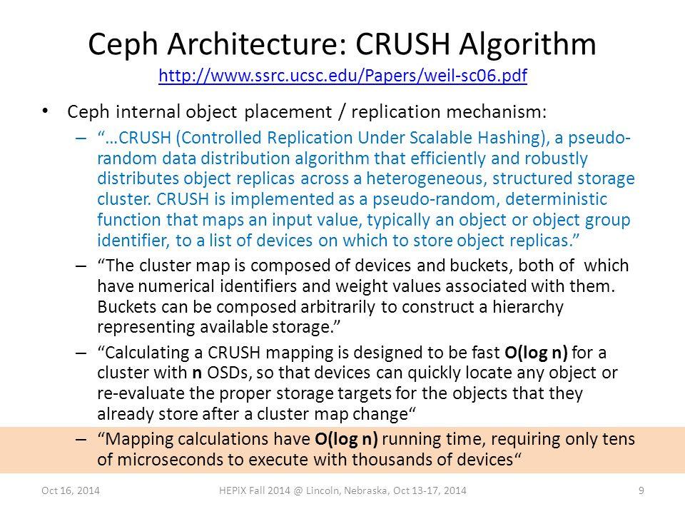 Ceph Architecture: CRUSH Algorithm http://www.ssrc.ucsc.edu/Papers/weil-sc06.pdf http://www.ssrc.ucsc.edu/Papers/weil-sc06.pdf 9Oct 16, 2014HEPiX Fall