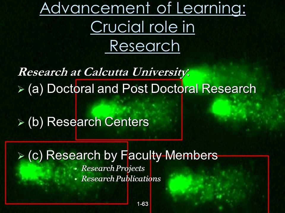 21 Advancement of Learning: Crucial role in Research Research at Calcutta University :  (a) Doctoral and Post Doctoral Research  (b) Research Centers  (c) Research by Faculty Members Research ProjectsResearch Projects Research PublicationsResearch Publications 1-63
