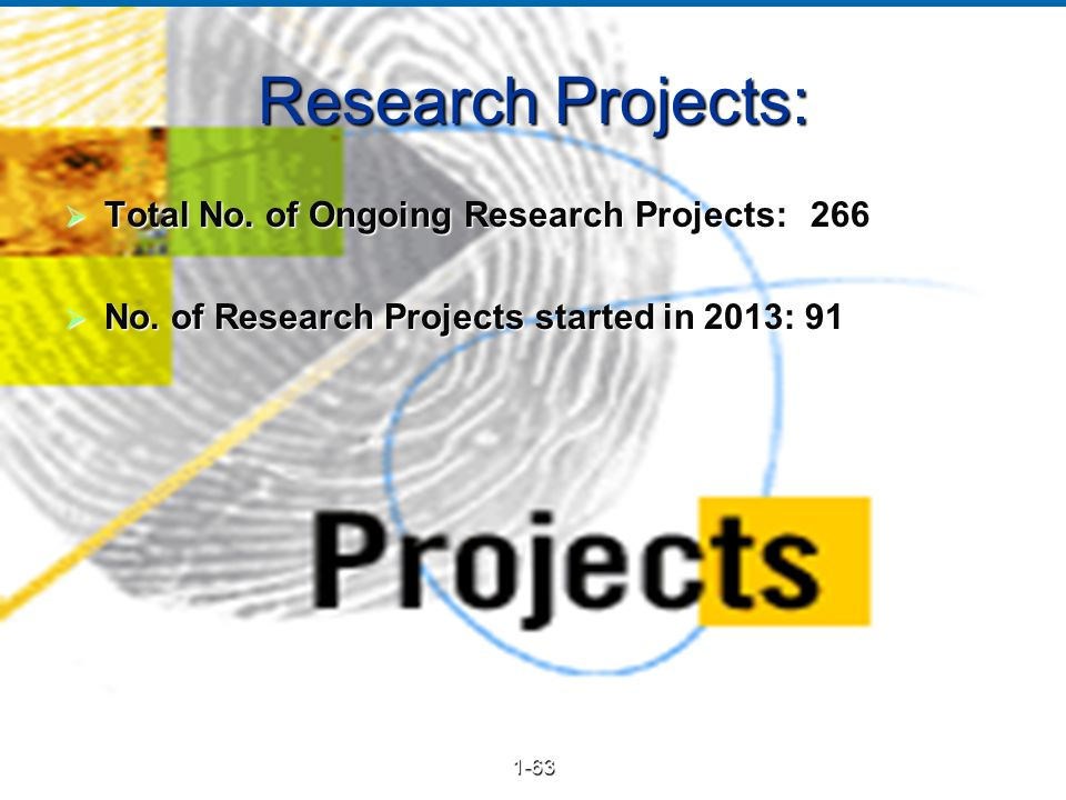 23 Research Projects:  Total No.of Ongoing Research Projects: 266  No.