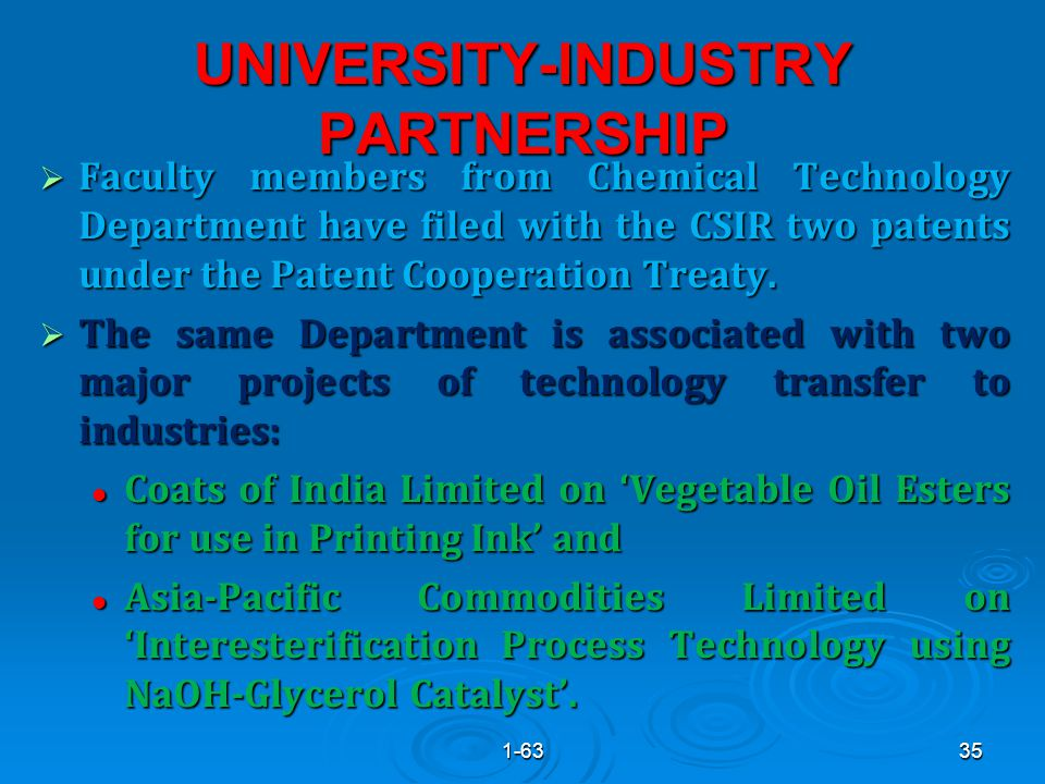 UNIVERSITY-INDUSTRY PARTNERSHIP  Faculty members from Chemical Technology Department have filed with the CSIR two patents under the Patent Cooperation Treaty.