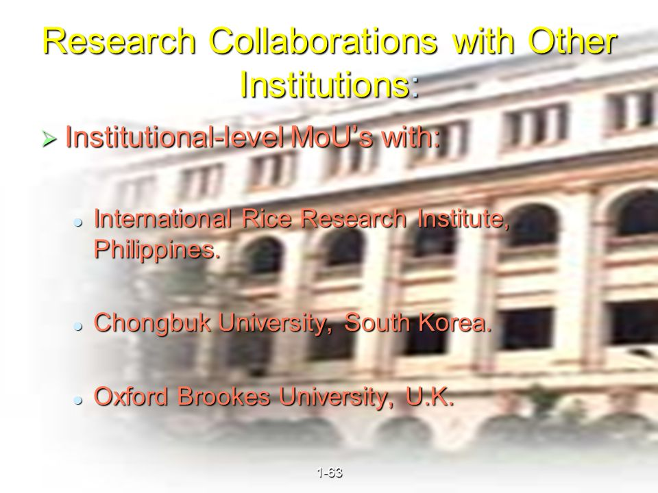 40 Research Collaborations with Other Institutions:  Institutional-level MoU's with: International Rice Research Institute, Philippines.