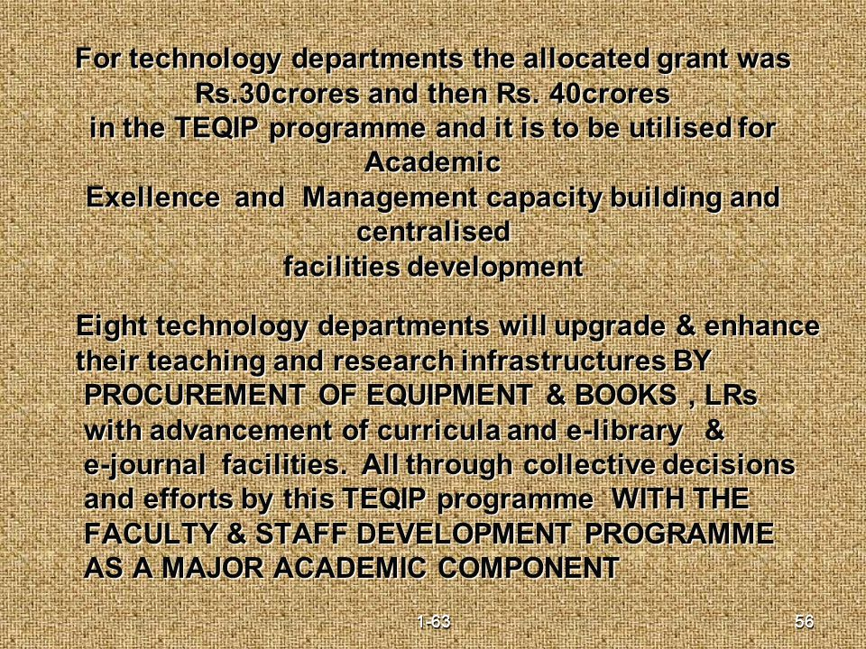 For technology departments the allocated grant was Rs.30crores and then Rs.