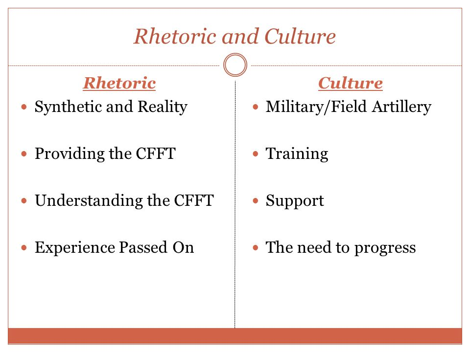 Rhetoric and Culture Rhetoric Synthetic and Reality Providing the CFFT Understanding the CFFT Experience Passed On Culture Military/Field Artillery Training Support The need to progress