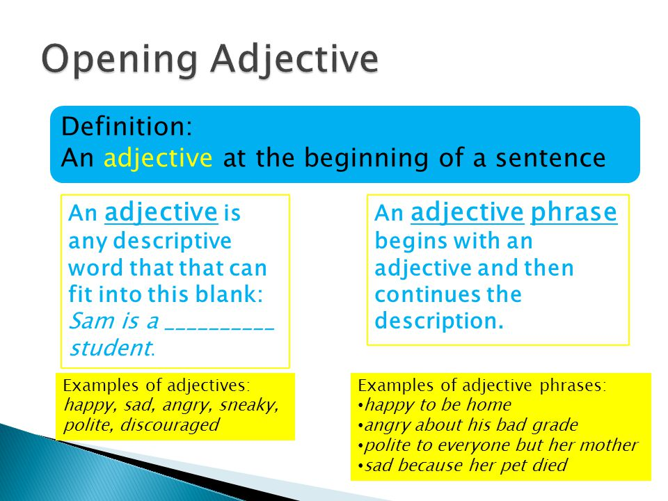 Adapted from Grammar for High School: A Sentence-Composing Approach By Don and Jenny Killgallon Opening Adjective