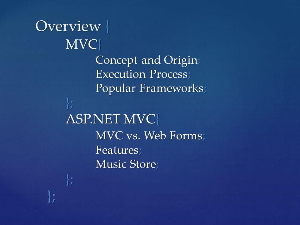 Overview { MVC{ Concept and Origin; Execution Process; Popular Frameworks; }; ASP.NET MVC{ MVC vs.