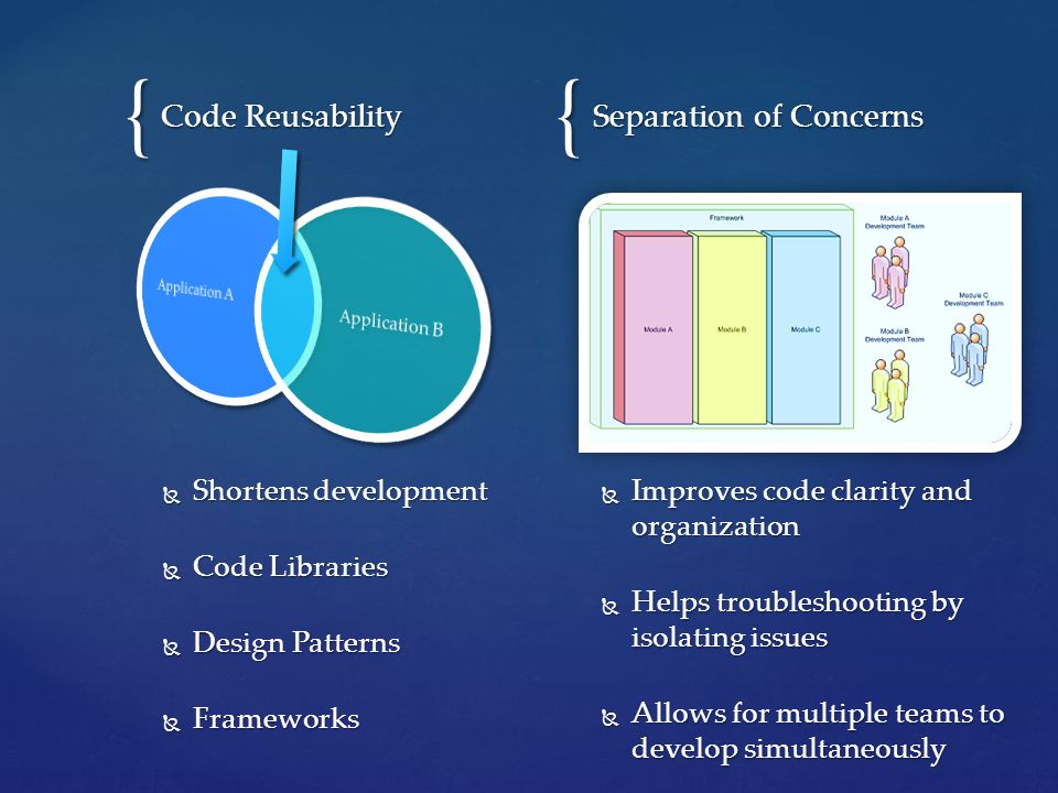 {{ Separation of Concerns  Shortens development  Code Libraries  Design Patterns  Frameworks Code Reusability  Improves code clarity and organization  Helps troubleshooting by isolating issues  Allows for multiple teams to develop simultaneously