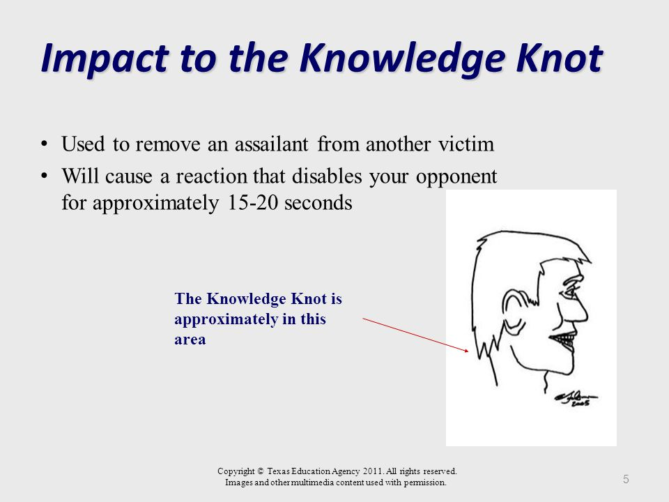 Impact to the Knowledge Knot Used to remove an assailant from another victim Will cause a reaction that disables your opponent for approximately 15-20 seconds 5 The Knowledge Knot is approximately in this area Copyright © Texas Education Agency 2011.
