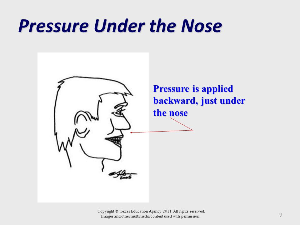 In The Ear Area 8 Motivates a person to cease an action or move from their present position Induces severe momentary pain Upon release of the pressure, the pain goes away immediately Apply with a hard object such as a pen, pencil, or your knuckle Maintain pressure until the assailant agrees to stop his assault and leave the scene Copyright © Texas Education Agency 2011.