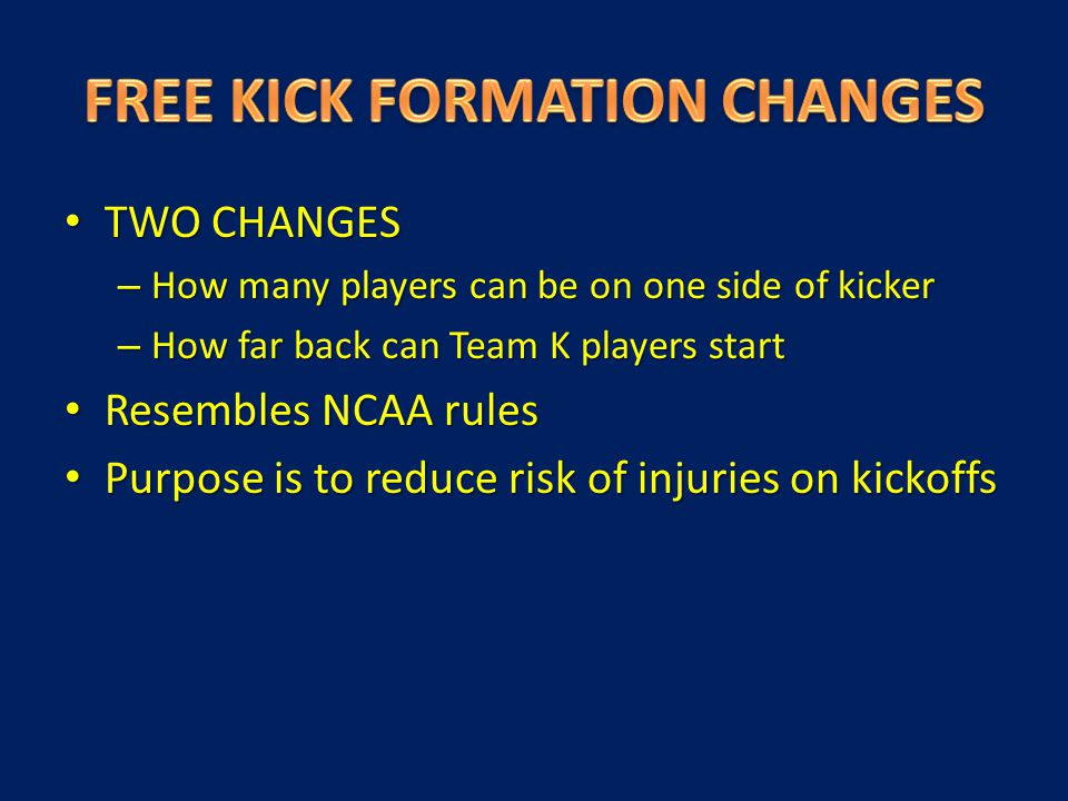TWO CHANGES TWO CHANGES – How many players can be on one side of kicker – How far back can Team K players start Resembles NCAA rules Resembles NCAA ru