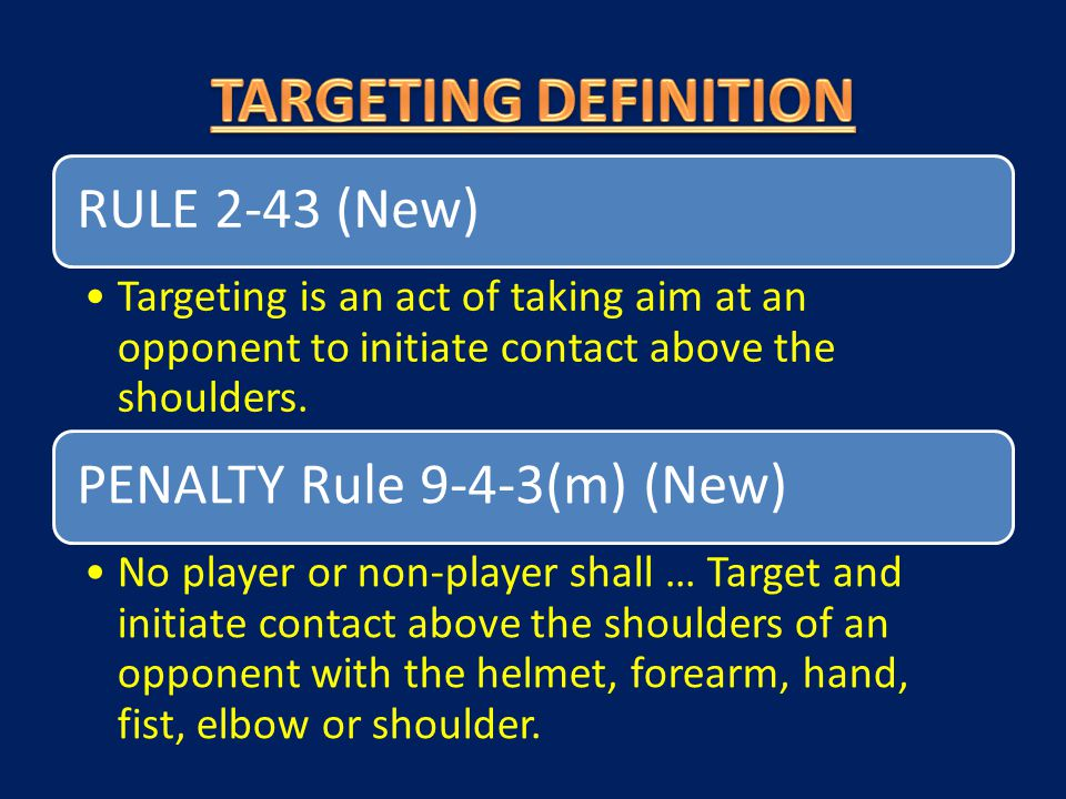 RULE 2-43 (New) Targeting is an act of taking aim at an opponent to initiate contact above the shoulders. PENALTY Rule 9-4-3(m) (New) No player or non