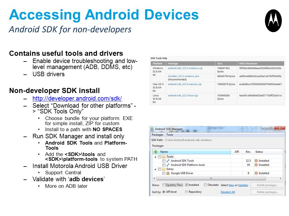 Accessing Android Devices Contains useful tools and drivers –Enable device troubleshooting and low- level management (ADB, DDMS, etc) –USB drivers Non