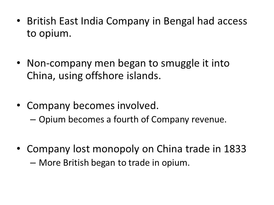 Second Opium War, 1856–1860 Britain tries to force Chine to open more ports.