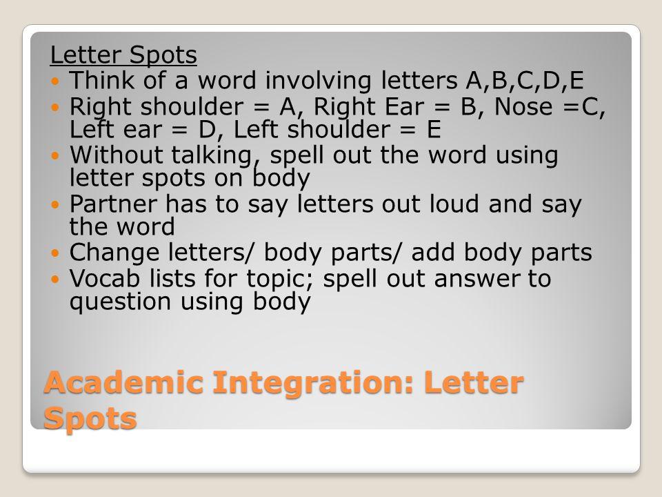 Academic Integration: Letter Spots Letter Spots Think of a word involving letters A,B,C,D,E Right shoulder = A, Right Ear = B, Nose =C, Left ear = D,