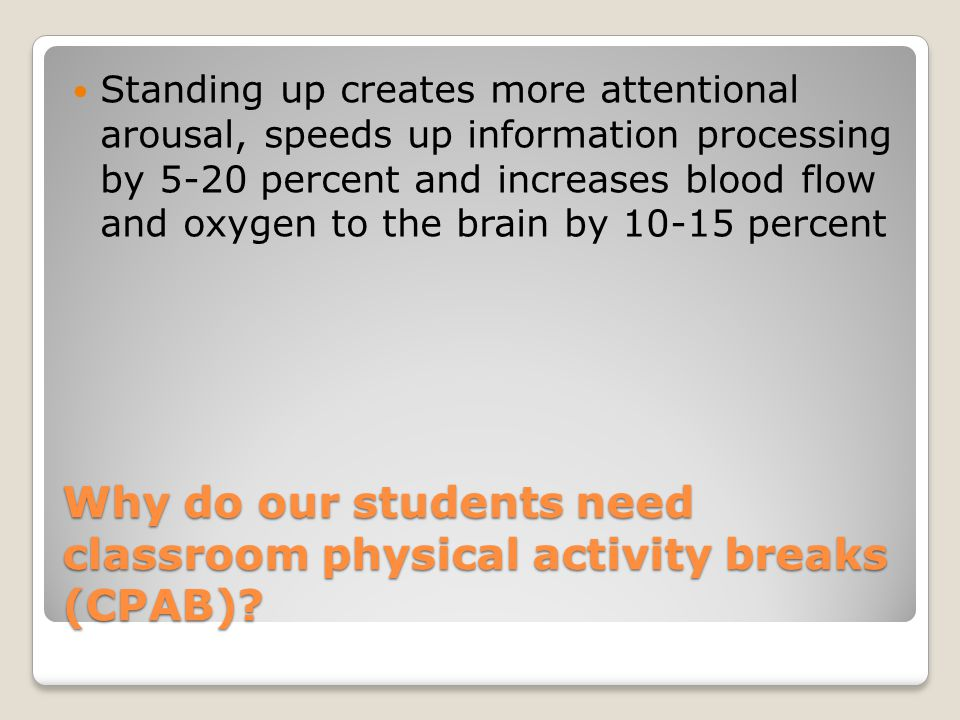 Resources http://www.aahperd.org/naspe/publications/t eachingTools/upload/PA-During-School- Day.pdf pages 2 and 3 have a variety of links to different activities http://www.aahperd.org/naspe/publications/t eachingTools/upload/PA-During-School- Day.pdf http://brainbreaks.blogspot.com/ http://pecentral.org/lessonideas/searchresults.