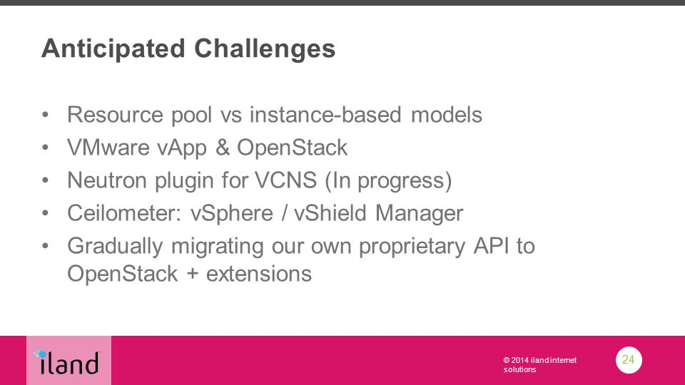 © 2014 iland internet solutions Anticipated Challenges Resource pool vs instance-based models VMware vApp & OpenStack Neutron plugin for VCNS (In progress) Ceilometer: vSphere / vShield Manager Gradually migrating our own proprietary API to OpenStack + extensions 24