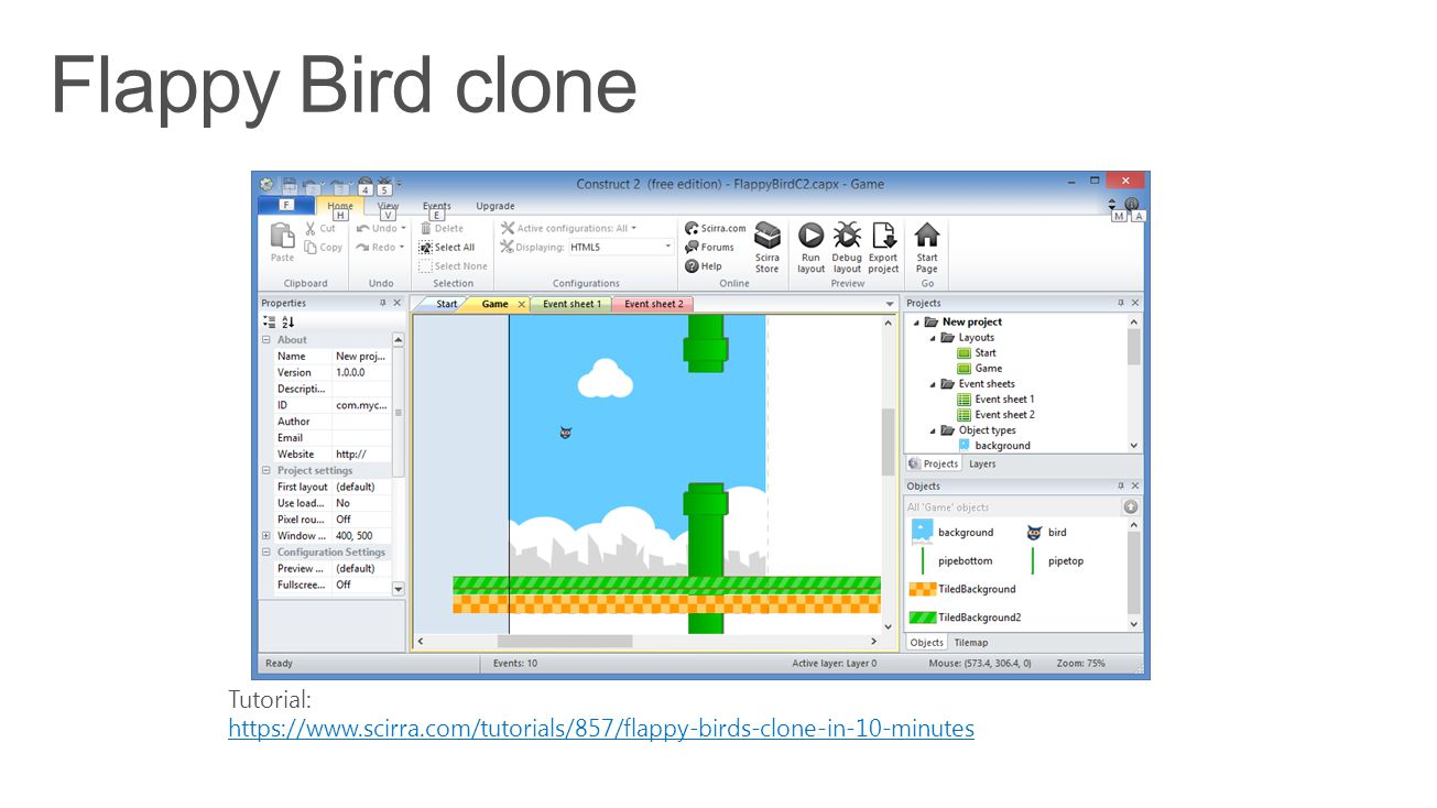 Tutorial: https://www.scirra.com/tutorials/857/flappy-birds-clone-in-10-minutes