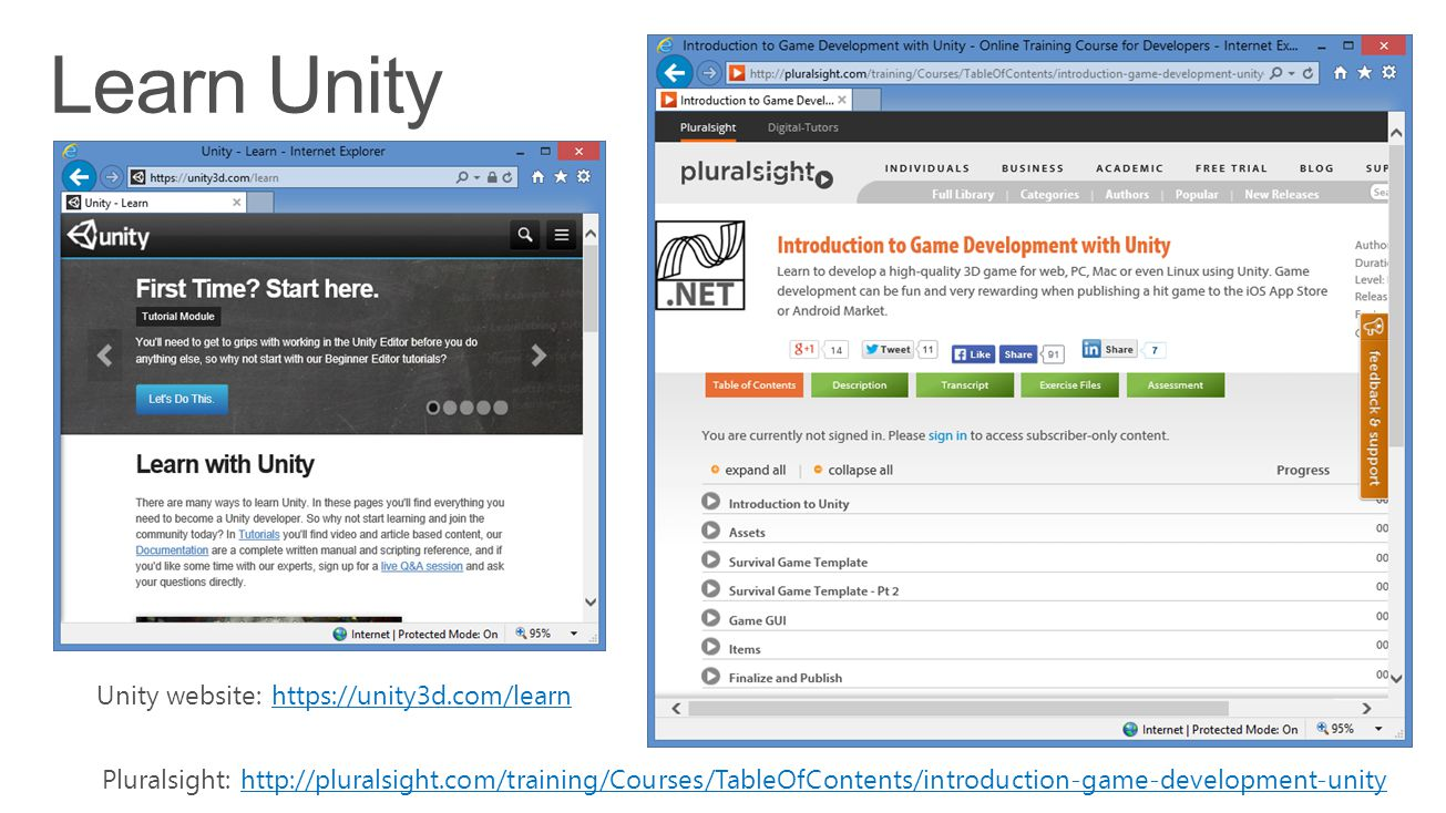 Unity website: https://unity3d.com/learnhttps://unity3d.com/learn Pluralsight: http://pluralsight.com/training/Courses/TableOfContents/introduction-ga