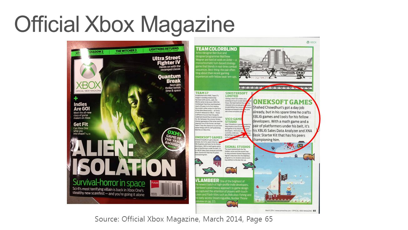 Source: Official Xbox Magazine, March 2014, Page 65 `