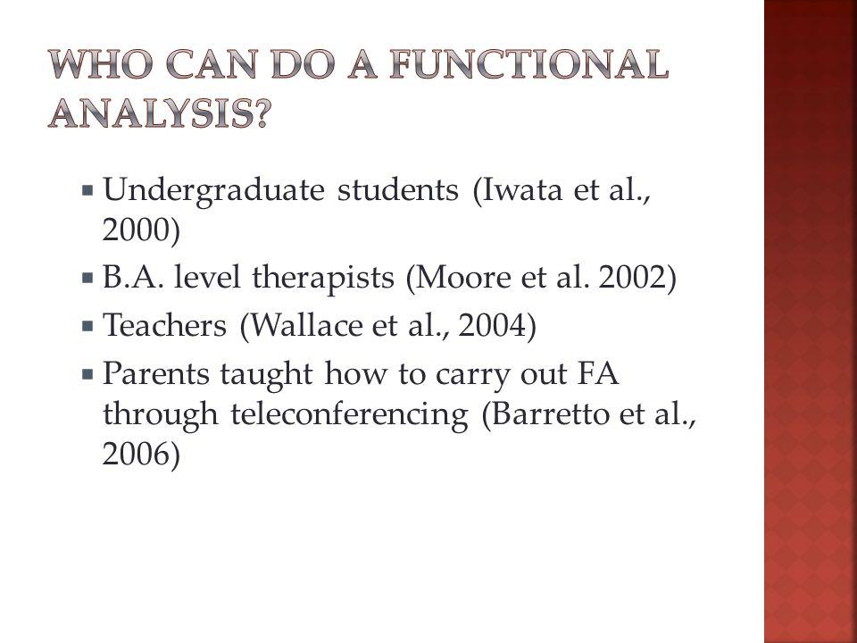  Undergraduate students (Iwata et al., 2000)  B.A.