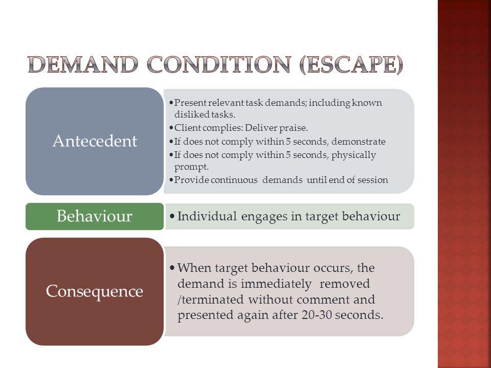 Present relevant task demands; including known disliked tasks.