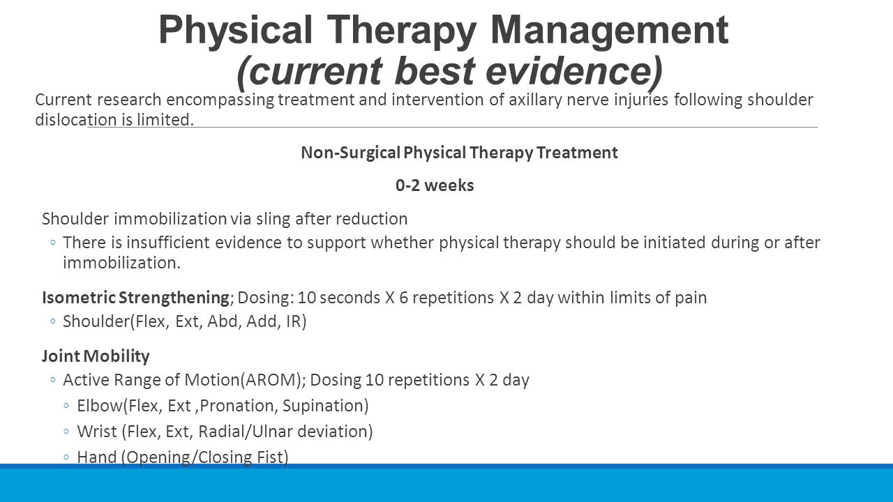 Physical Therapy Management (current best evidence) Current research encompassing treatment and intervention of axillary nerve injuries following shou