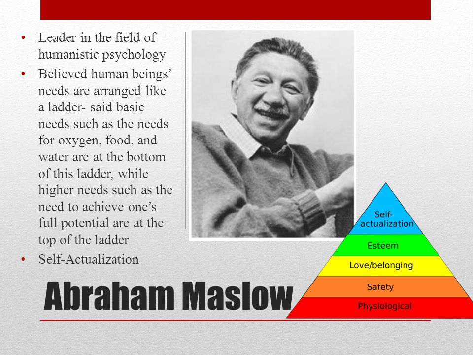 Abraham Maslow Leader in the field of humanistic psychology Believed human beings' needs are arranged like a ladder- said basic needs such as the need