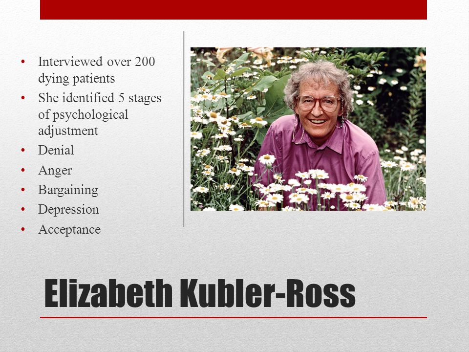 Elizabeth Kubler-Ross Interviewed over 200 dying patients She identified 5 stages of psychological adjustment Denial Anger Bargaining Depression Accep