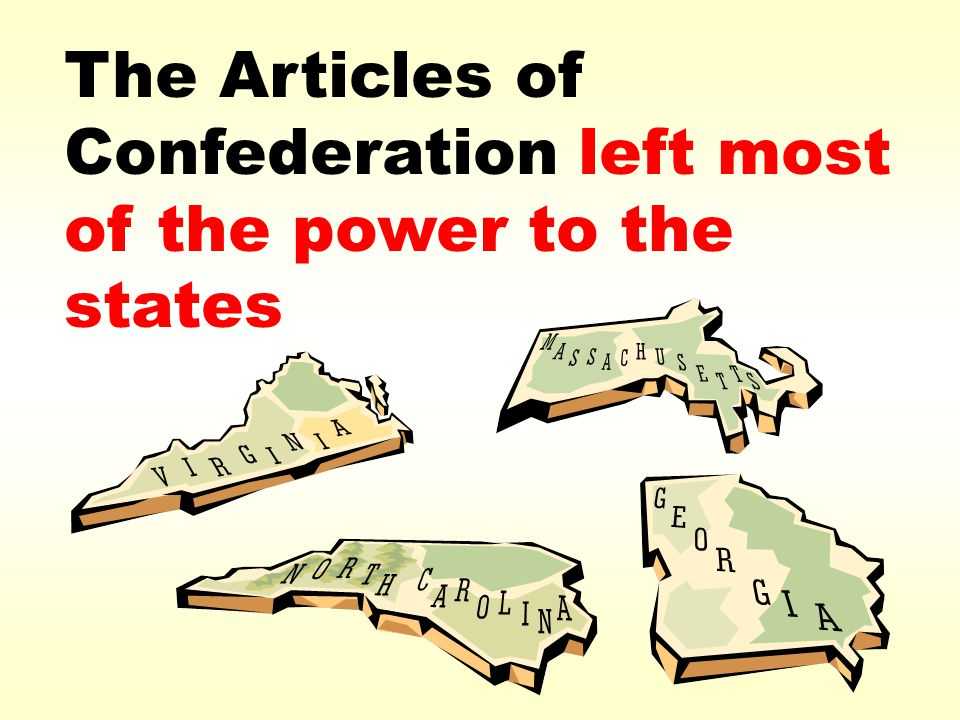 The Articles of Confederation left most of the power to the states