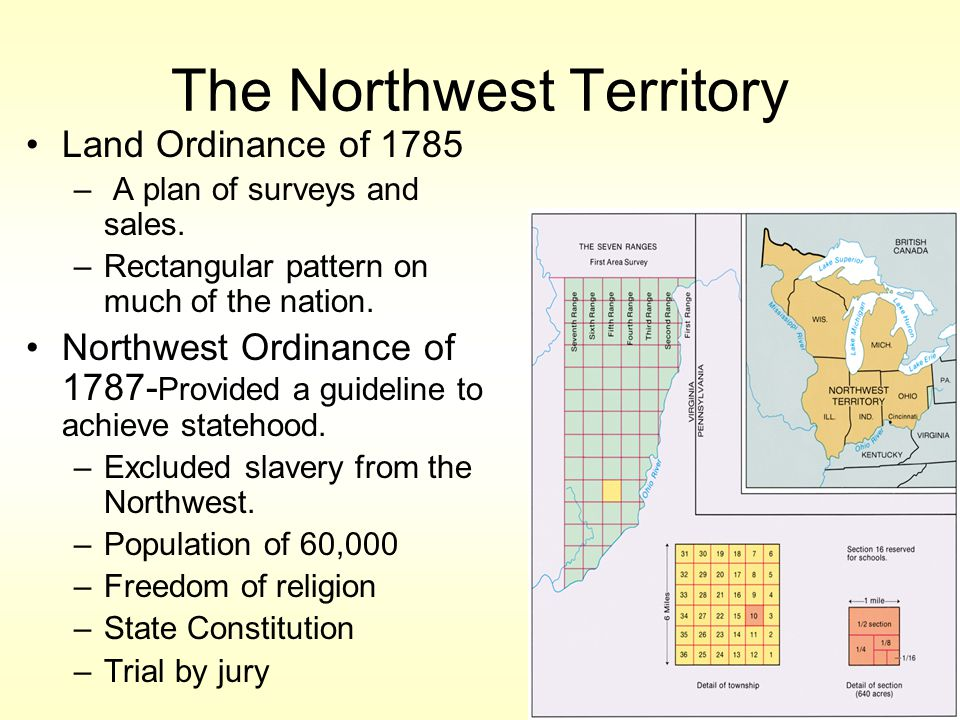 The Northwest Territory Land Ordinance of 1785 – A plan of surveys and sales.