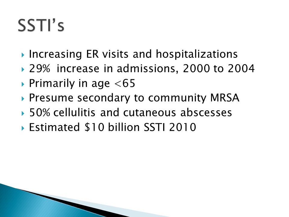  Increasing ER visits and hospitalizations  29% increase in admissions, 2000 to 2004  Primarily in age <65  Presume secondary to community MRSA 