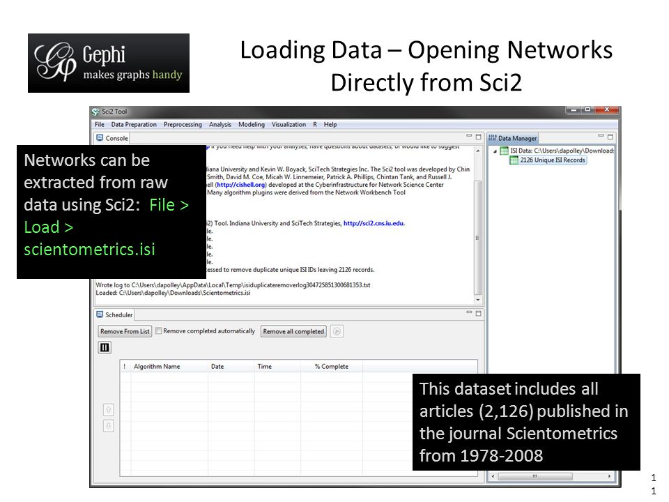 11 Networks can be extracted from raw data using Sci2: File > Load > scientometrics.isi Loading Data – Opening Networks Directly from Sci2 This dataset includes all articles (2,126) published in the journal Scientometrics from 1978-2008