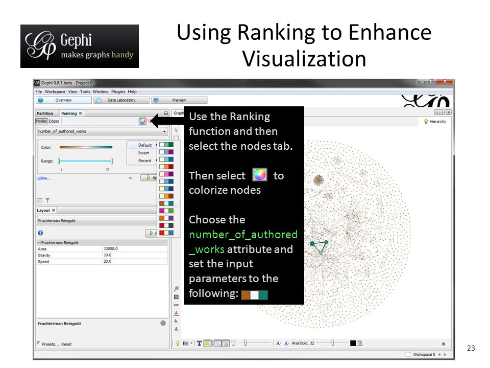 23 Using Ranking to Enhance Visualization Use the Ranking function and then select the nodes tab.