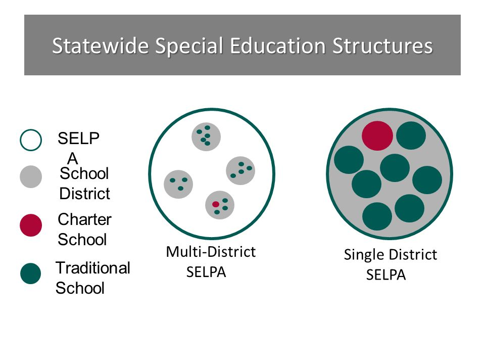 Statewide Special Education Structures School District Charter School SELP A Multi-District SELPA Single District SELPA Traditional School