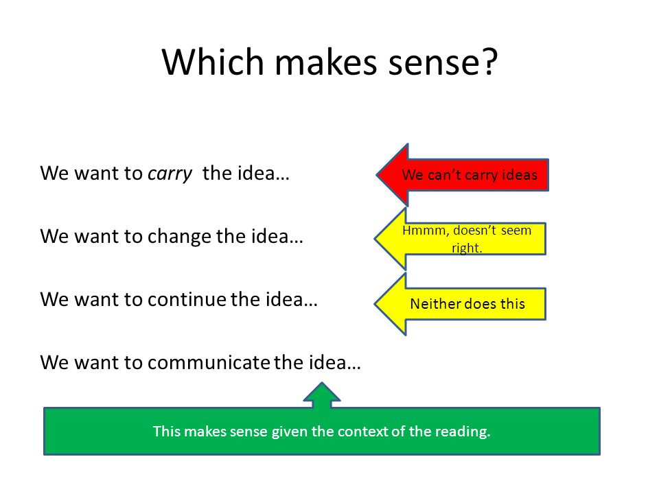 Which makes sense? We want to carry the idea… We want to change the idea… We want to continue the idea… We want to communicate the idea… We can't carr