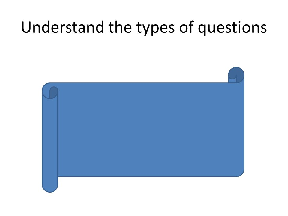 Understand the types of questions