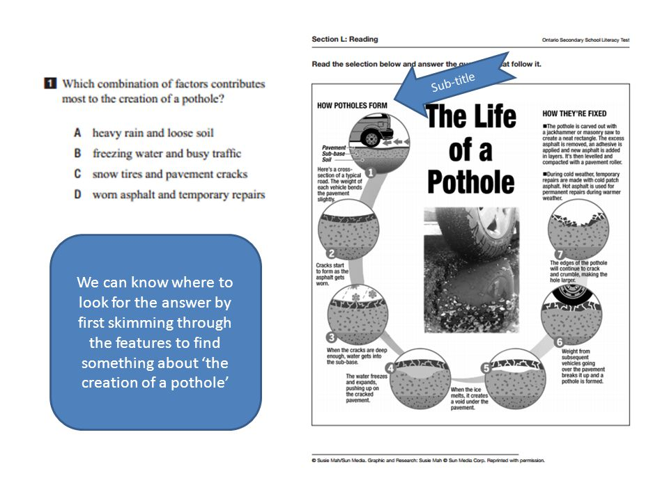 Sub-title We can know where to look for the answer by first skimming through the features to find something about 'the creation of a pothole'