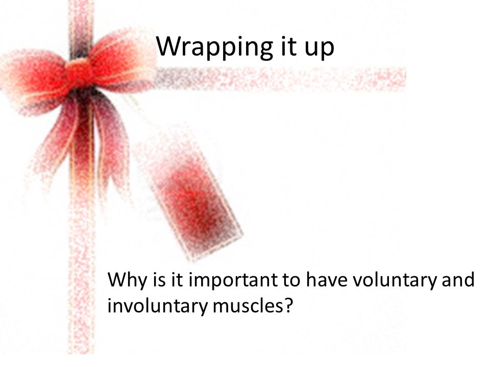 Wrapping it up Why is it important to have voluntary and involuntary muscles?