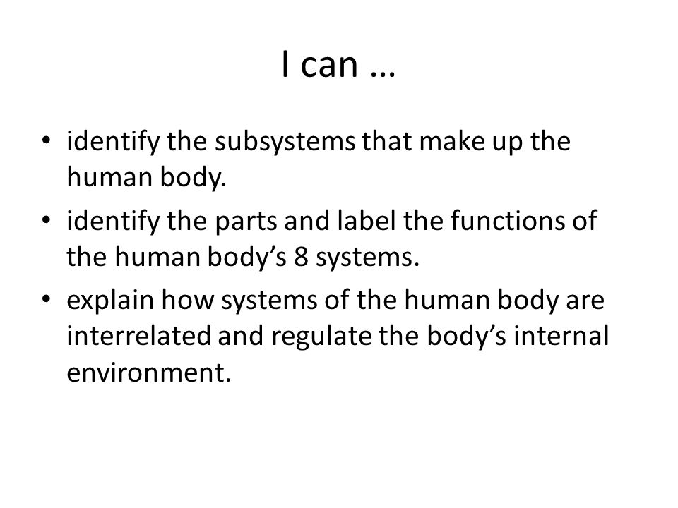 I can … identify the subsystems that make up the human body. identify the parts and label the functions of the human body's 8 systems. explain how sys