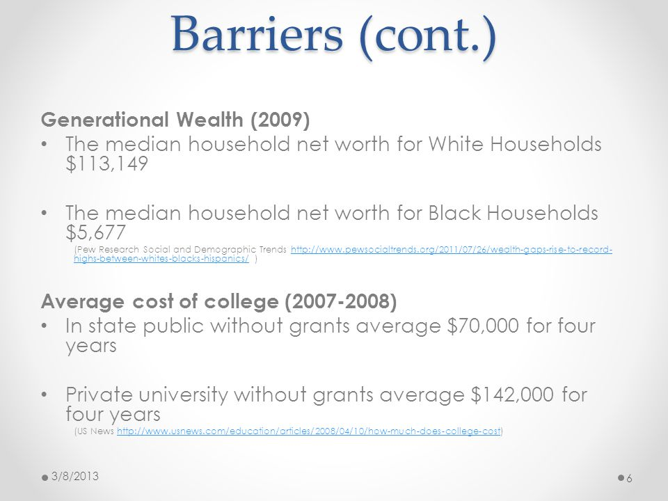 Barriers (cont.) Generational Wealth (2009) The median household net worth for White Households $113,149 The median household net worth for Black Households $5,677 (Pew Research Social and Demographic Trends http://www.pewsocialtrends.org/2011/07/26/wealth-gaps-rise-to-record- highs-between-whites-blacks-hispanics/ )http://www.pewsocialtrends.org/2011/07/26/wealth-gaps-rise-to-record- highs-between-whites-blacks-hispanics/ Average cost of college (2007-2008) In state public without grants average $70,000 for four years Private university without grants average $142,000 for four years (US News http://www.usnews.com/education/articles/2008/04/10/how-much-does-college-cost)http://www.usnews.com/education/articles/2008/04/10/how-much-does-college-cost 3/8/2013 6