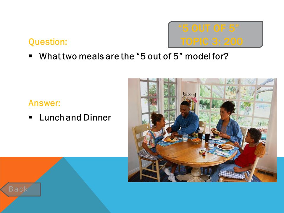 """""""5 OUT OF 5"""" TOPIC 3: 200 Question:  What two meals are the """"5 out of 5"""" model for? Answer:  Lunch and Dinner"""