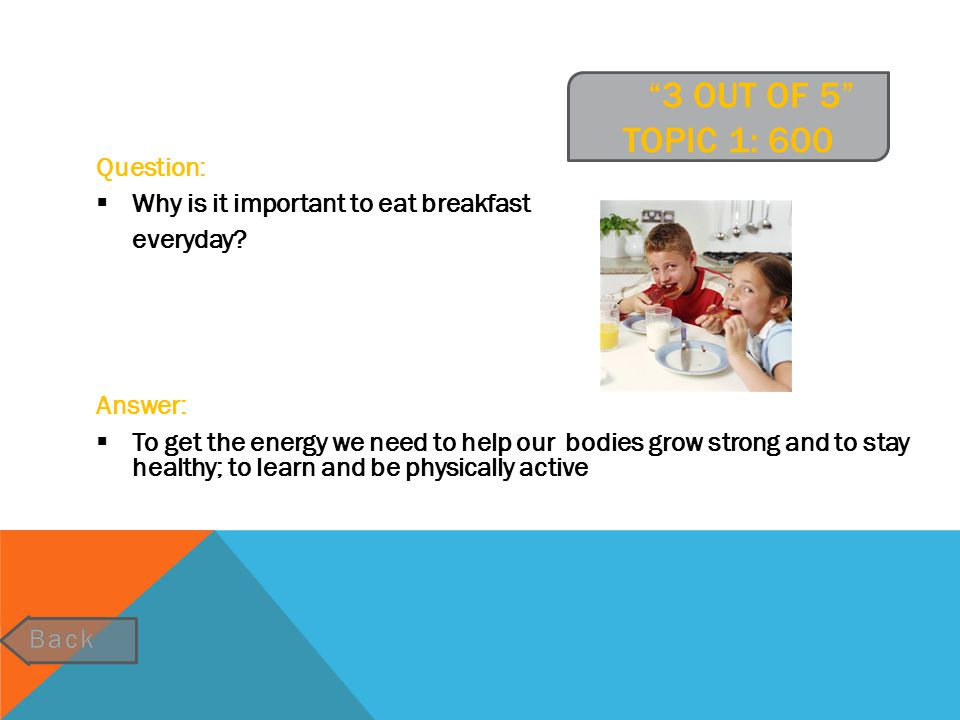 3 OUT OF 5 TOPIC 1: 800 Question:  If you eat something from the Milk & Milk Products food group and the Fruits food group for breakfast, what food group is missing to complete the 3 out of 5 model.
