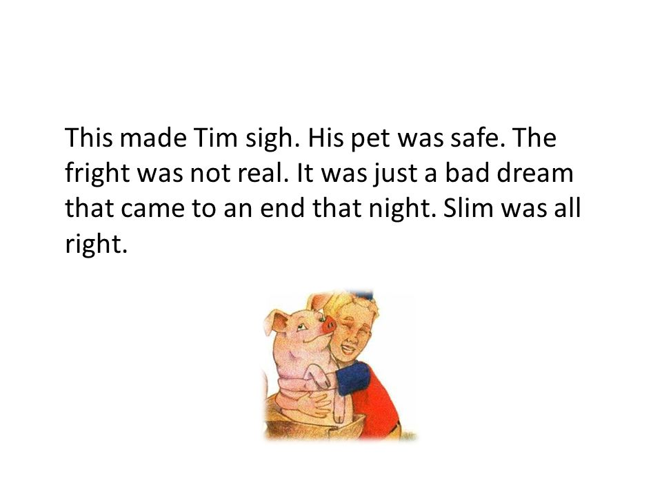 This made Tim sigh. His pet was safe. The fright was not real. It was just a bad dream that came to an end that night. Slim was all right.