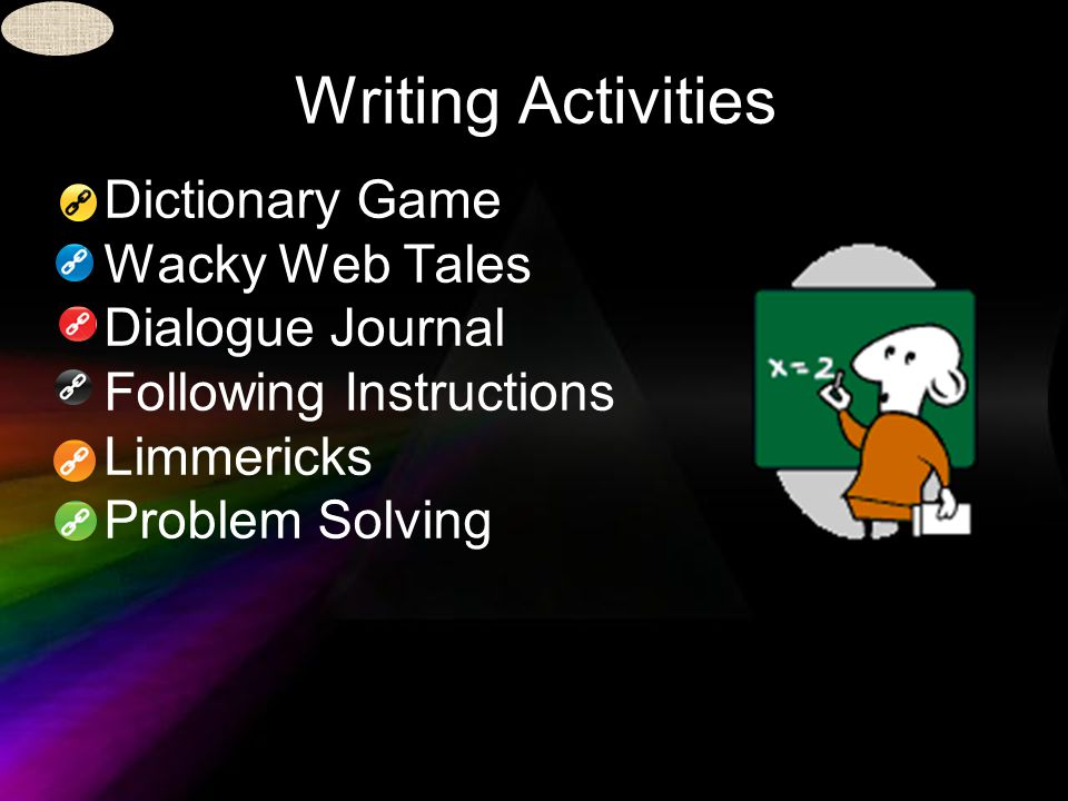 Writing Activities Dictionary Game Wacky Web Tales Dialogue Journal Following Instructions Limmericks Problem Solving