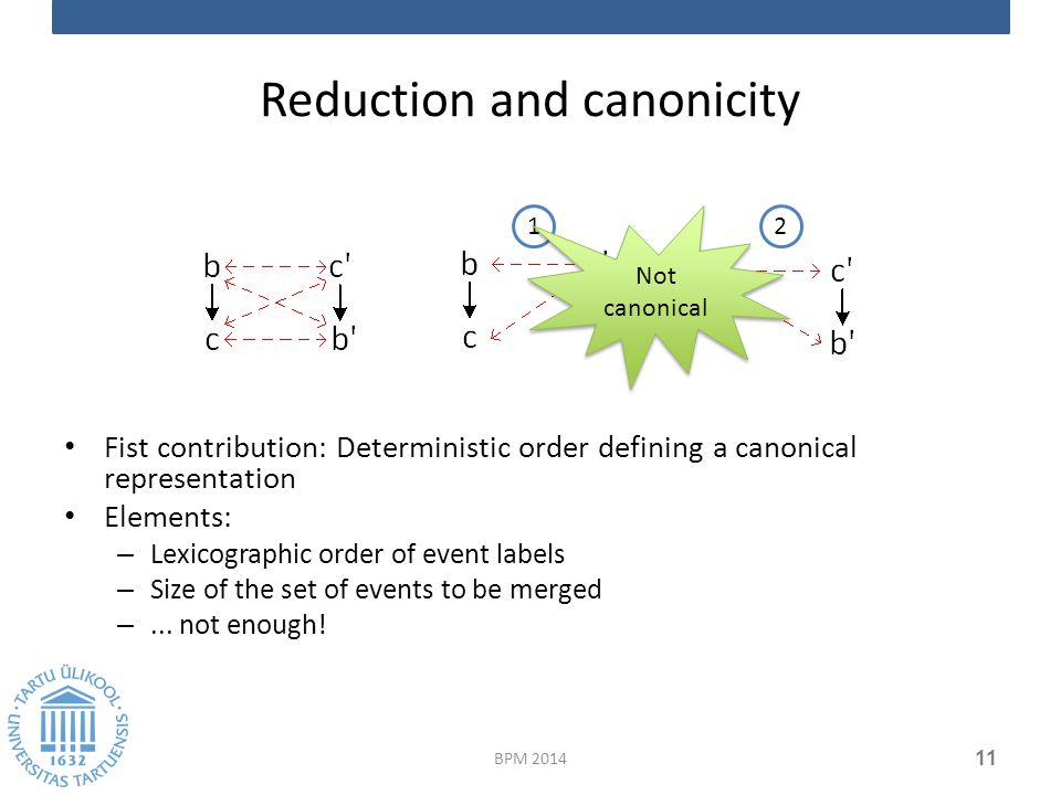Reduction and canonicity Fist contribution: Deterministic order defining a canonical representation Elements: – Lexicographic order of event labels – Size of the set of events to be merged –...